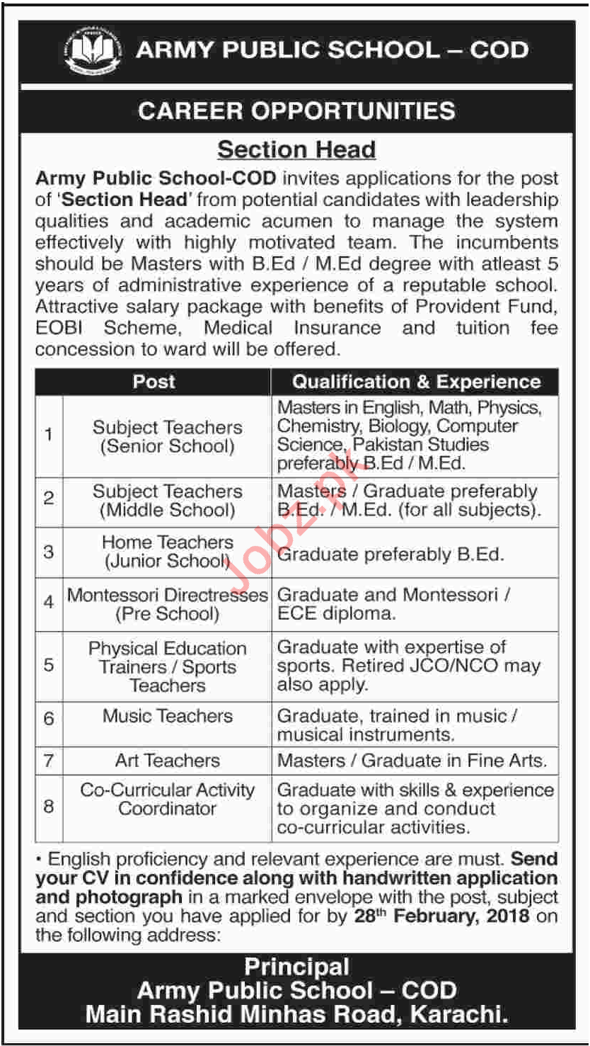 Army Public School APS Karachi Jobs 2018 for Teacher