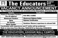 The Educators Asghar Mall Campus Teaching Jobs