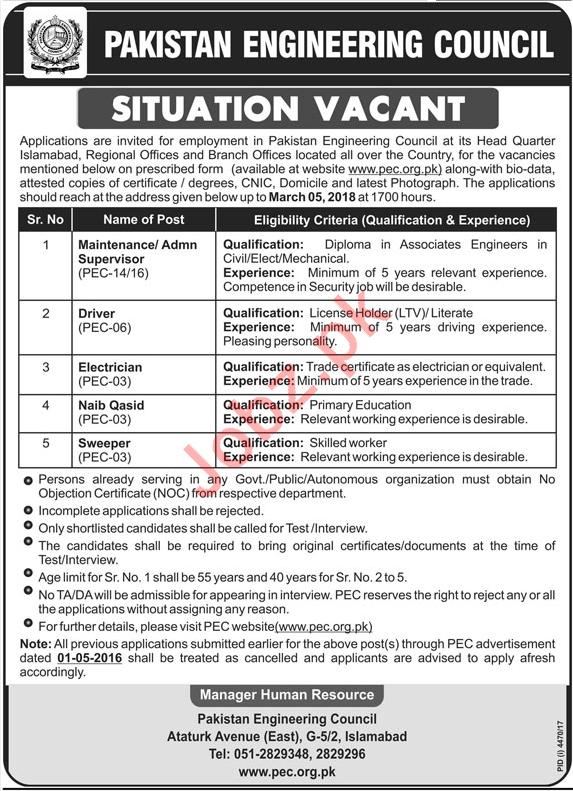 PEC Jobs Supervisor, Driver, Electrician, Naib Qasid 2018
