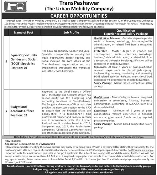 TransPeshawar The Urban Mobility Company Jobs