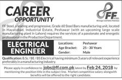 Electrical Engineers Job in FF Steel Manufacturing Industry