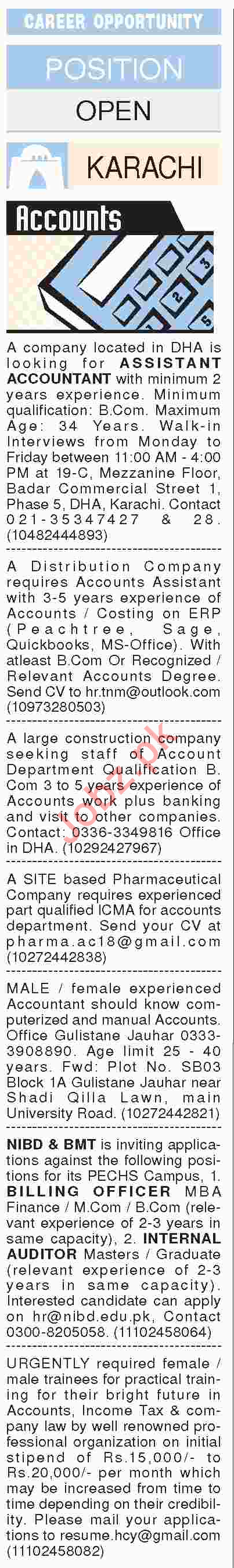 Assistant Accountant, Account Officers, Auditor Jobs 2018