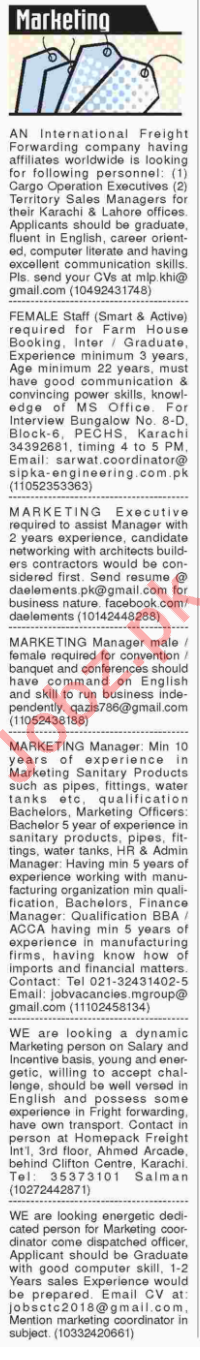 Sales, Marketing, Managers, Executives Jobs 2018