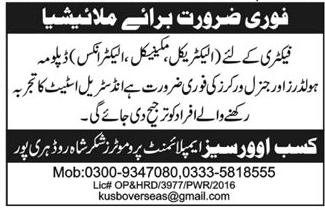 Electrical Diploma Holders, General Workers Job Opportunity