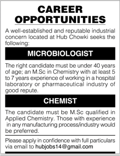 Microbiologists and Chemists Job Opportunity