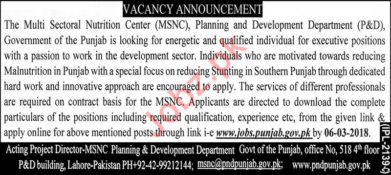 Planning & Development Department Jobs for Executives