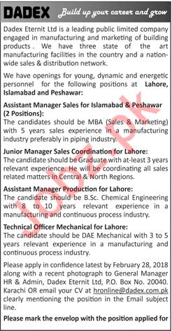 Dadex Eternit Limited Islamabad Jobs 2018