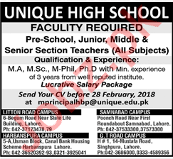 Unique High School Lahore Jobs for Teacher