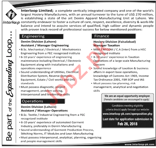Interloop Limited Lahore Jobs Manager Taxation & Engineering