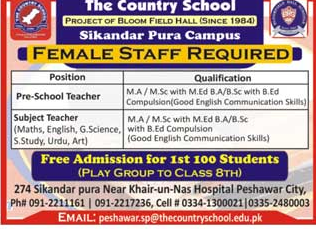 The Country School Teachers- Teaching  Job