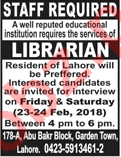 Librarian Jobs in Lahore