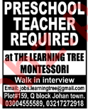 The Learning Tree Montessori School Lahore Jobs 2018