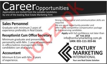 Century Marketing International Lahore Jobs 2018