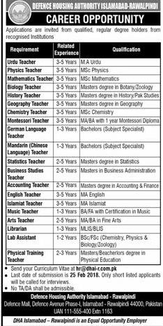 Defence Housing Authority DHA Islamabad-Rawalpindi Jobs 2019