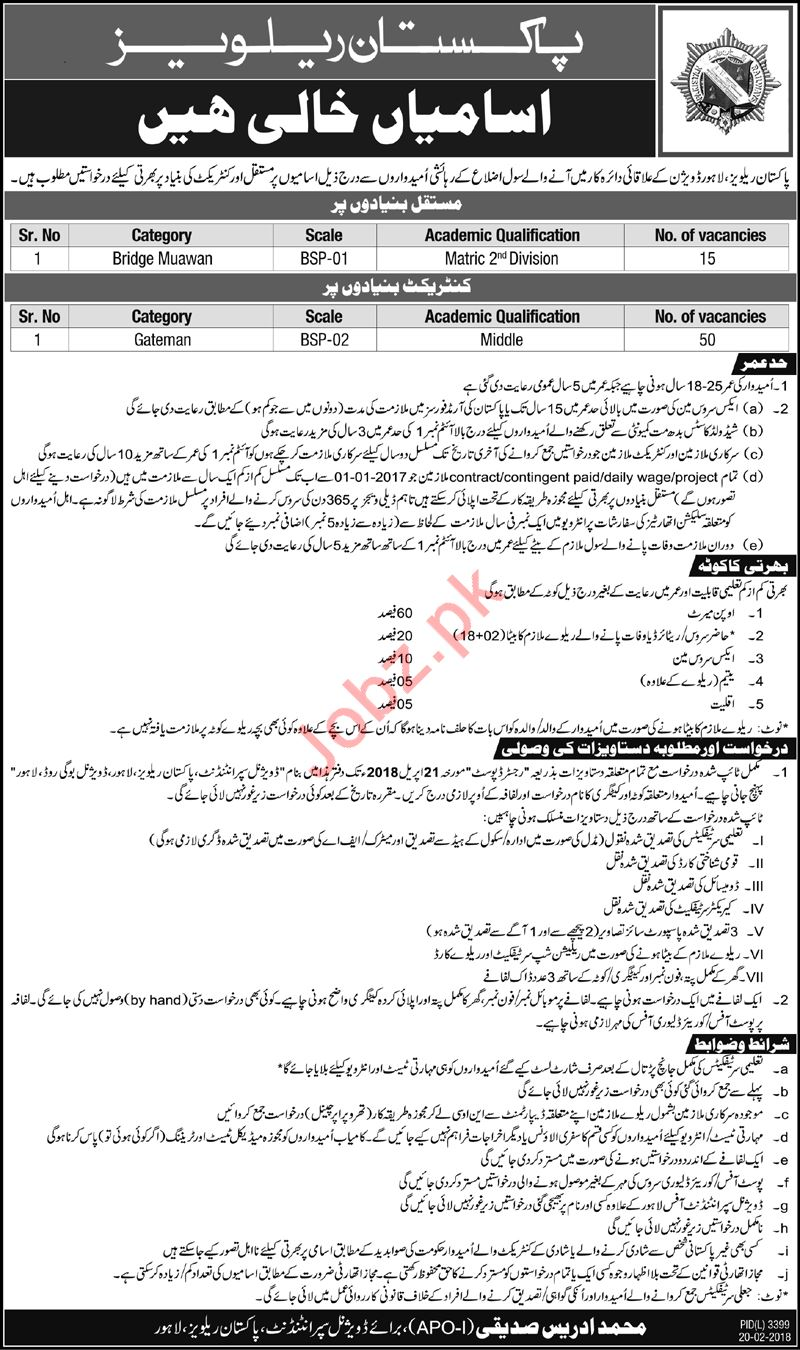 Pakistan Railways Lahore Jobs 2018 Gateman & Bridge Muawan