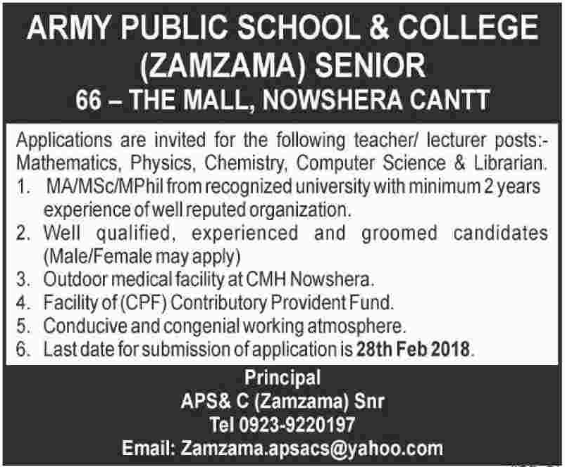 Army Public School & College APS & C Nowshera Cantt Jobs