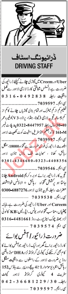 Daily Jang Classified Jobs 2018 for Drivers 2019 Job Advertisement