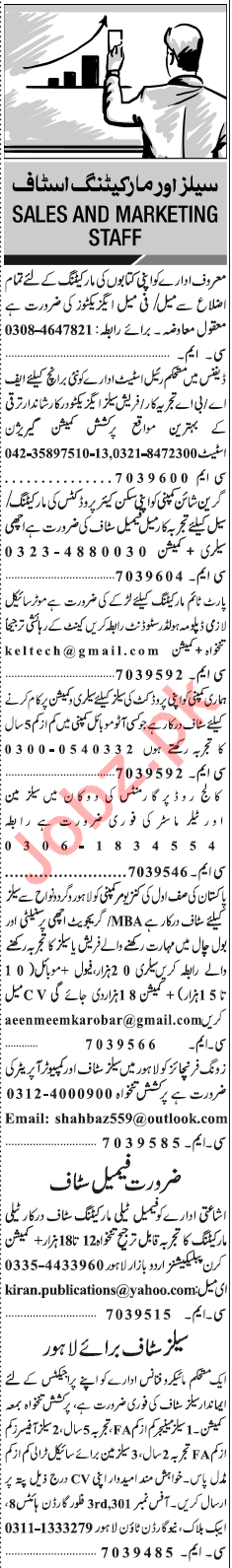Daily Jang Classified Jobs 2018 for Sales & Marketing Staff