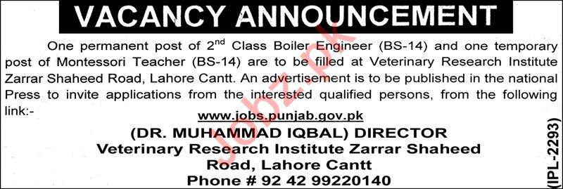 Veterinary Research Institute VRI Lahore Jobs 2018