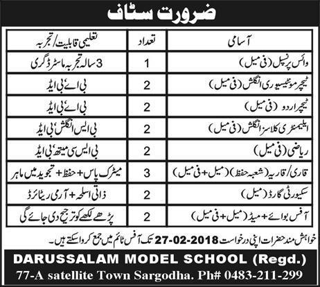 Darussalam Model School  Male / Female Teachers Job