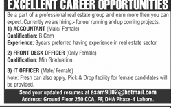Accountant, Front Desk Officers Job in Real Estate Company