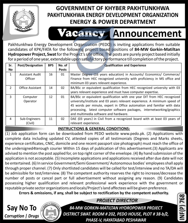 KPK Energy & Power  Development Organization PEDO JObs