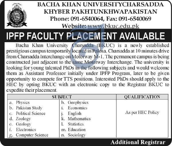 Bacha Khan University BKUC PHD Faculty / Teaching Jobs