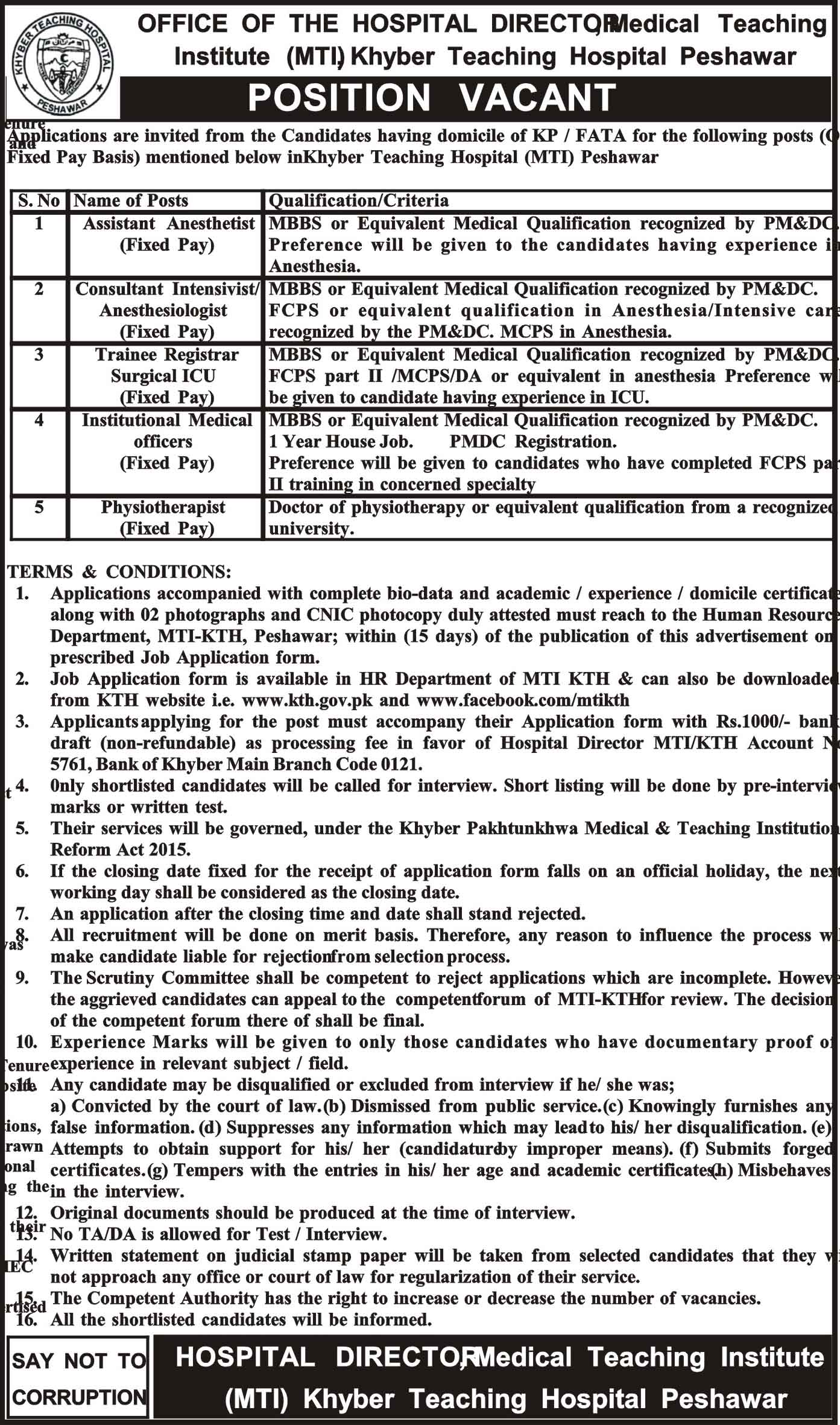 Medical Teaching Institute MTI  KPK Peshawar Jobs