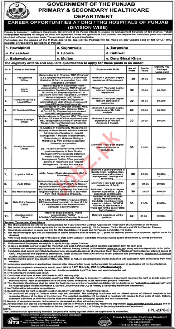 Health Department Jobs 2018 At DHQ/THQ Hospitals Via NTS