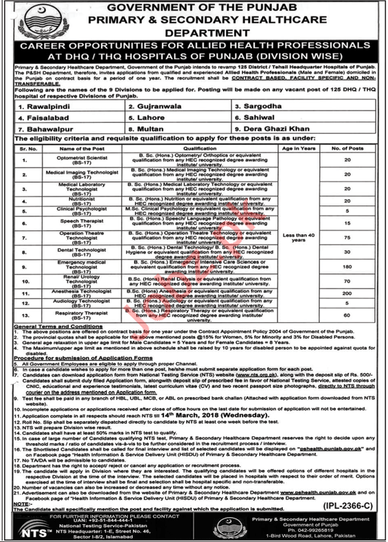 P&S Healthcare Department Jobs 2018 For DHQ/THQ Hospital