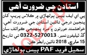PAF Base Teaching Jobs 2018 in Hyderabad