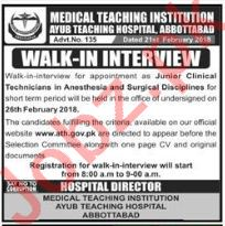 MTI Ayub Teaching Hospital Abbottabad Jobs Interviews
