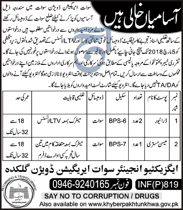 Swat  Irrigation Division Gulkda Drivers and Mason Jobs