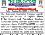 The Educators shabqadar Campus Female Teachers Jobs