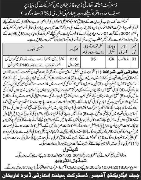 District Health Authority  D G Khan Jobs