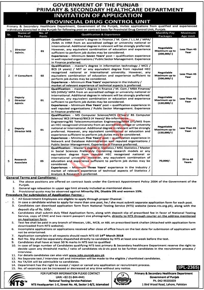Provincial Drug Control Unit Punjab Jobs 2018
