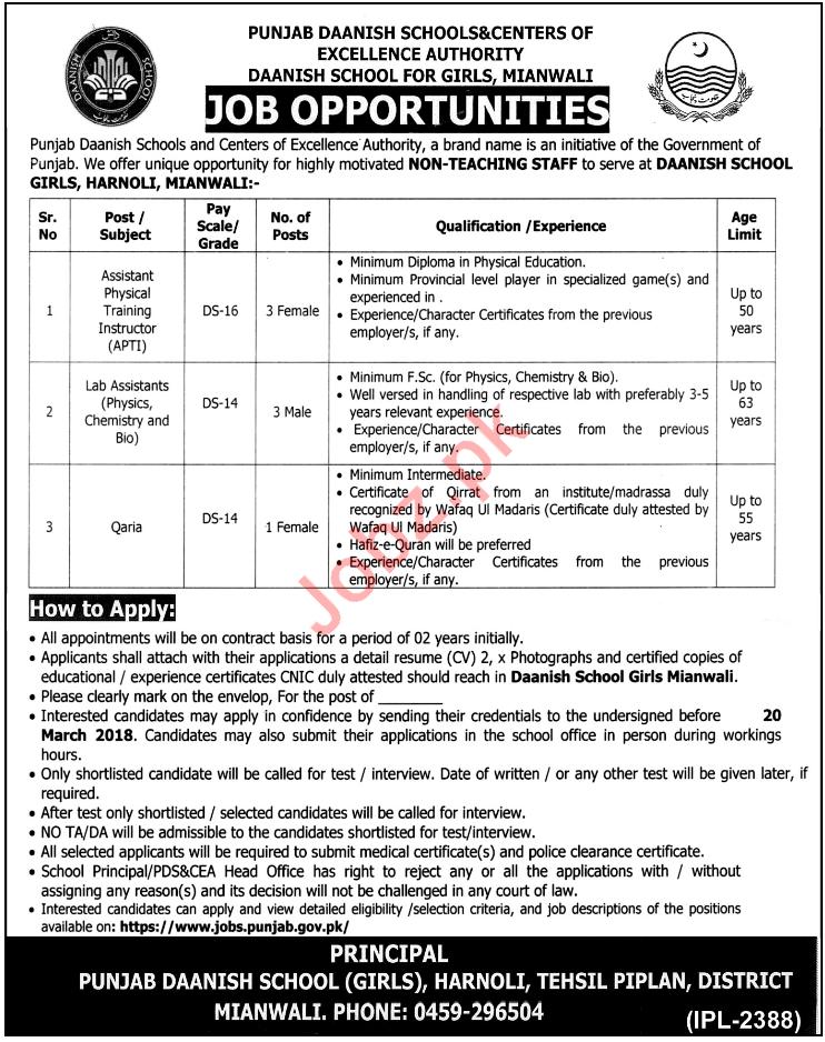 Punjab Daanish School PDS & CEA Mianwali Jobs 2018