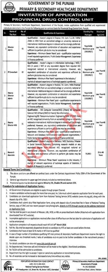 Health Department Punjab Jobs 2018