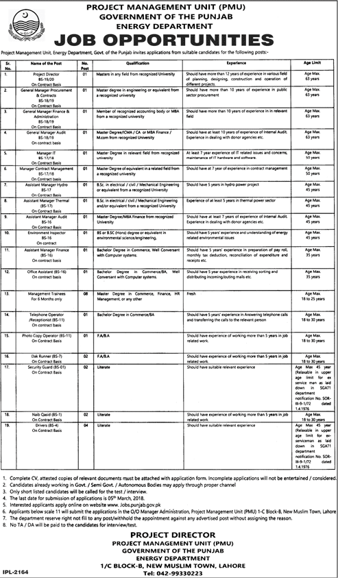 Energy Department Government of the Punjab Jobs