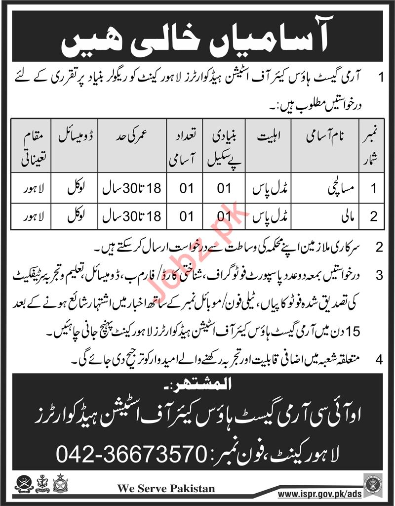 Army Guest House Care of Station Lahore Cantt Jobs 2018