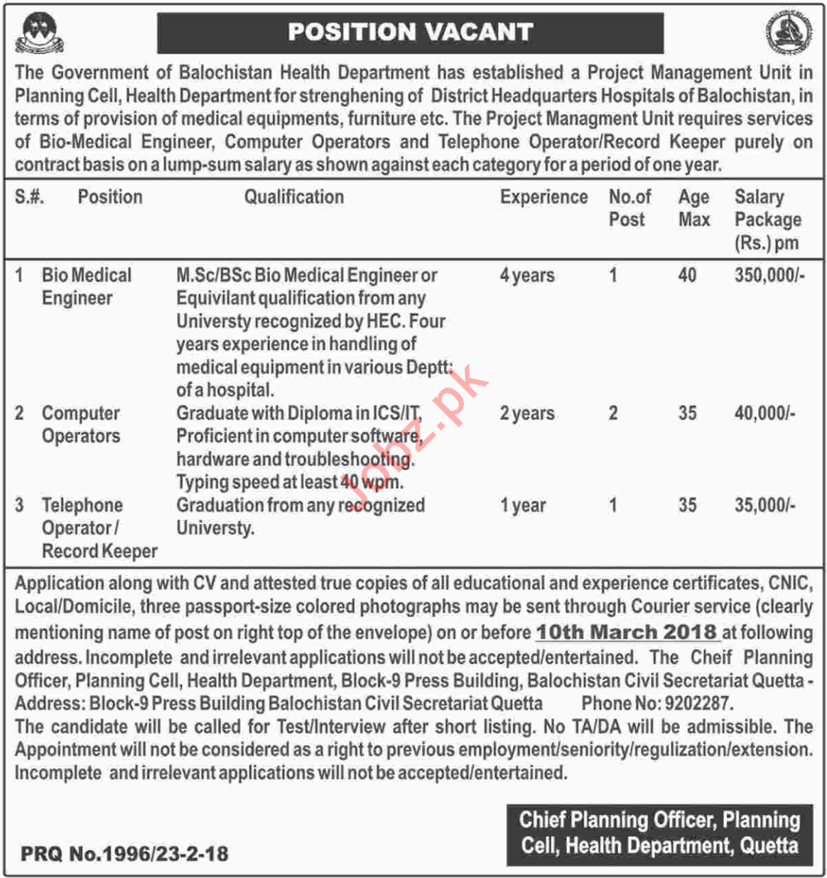 Health Department Quetta Jobs Jobs 2018