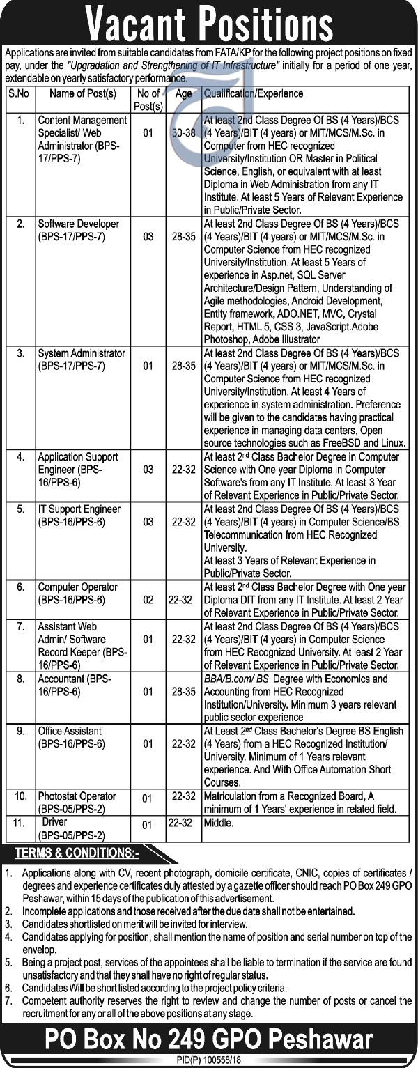 Government of Khyber Pakhtunkhuwa KPK FATA Jobs