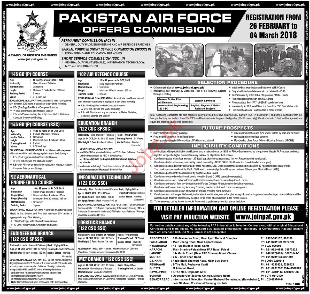 Join Pakistan Air Force PAF through Commission 2018
