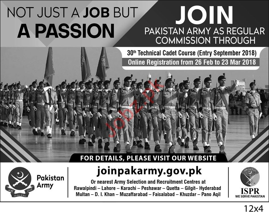 Join Pakistan Army through Commission as Captain 2018