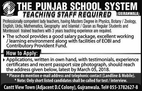 The Punjab School System Teaching Jobs