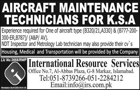 Aircraft Maintenance Technicians Job Opportunity