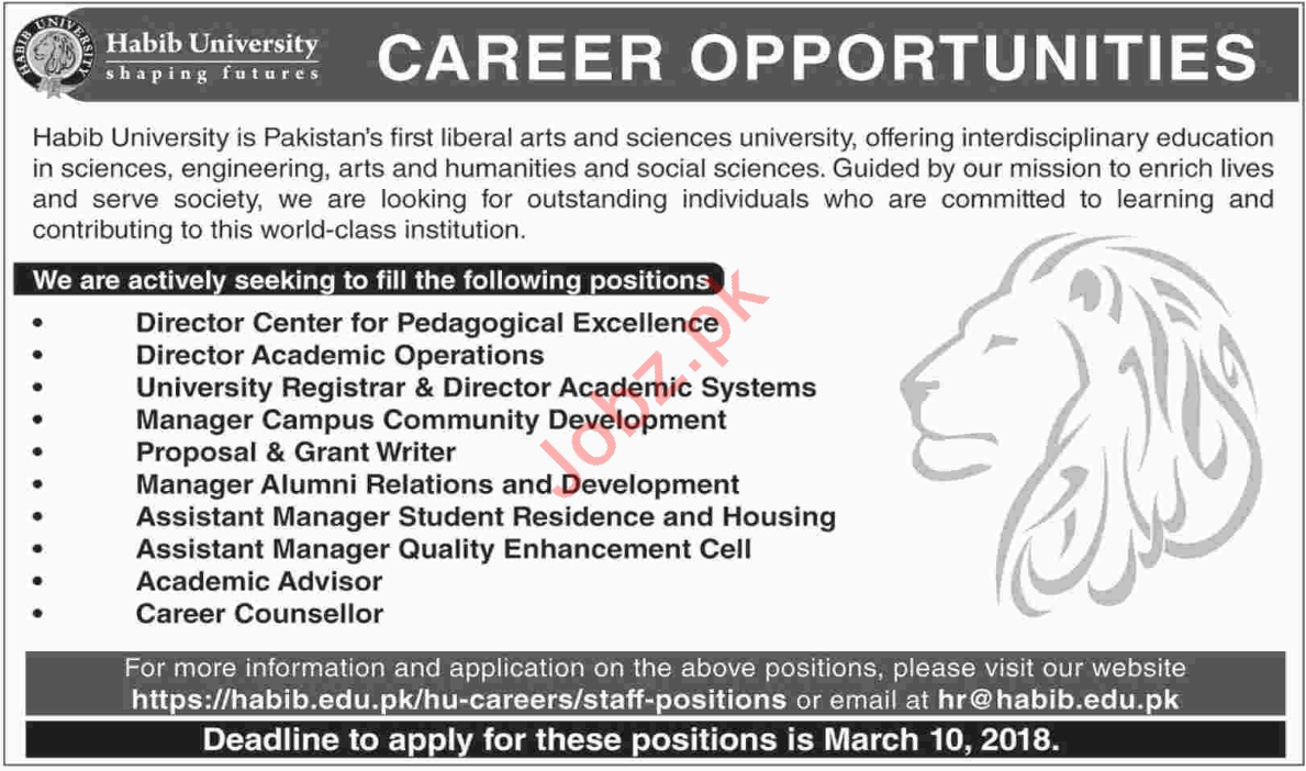 Habib University Karachi Jobs 2018