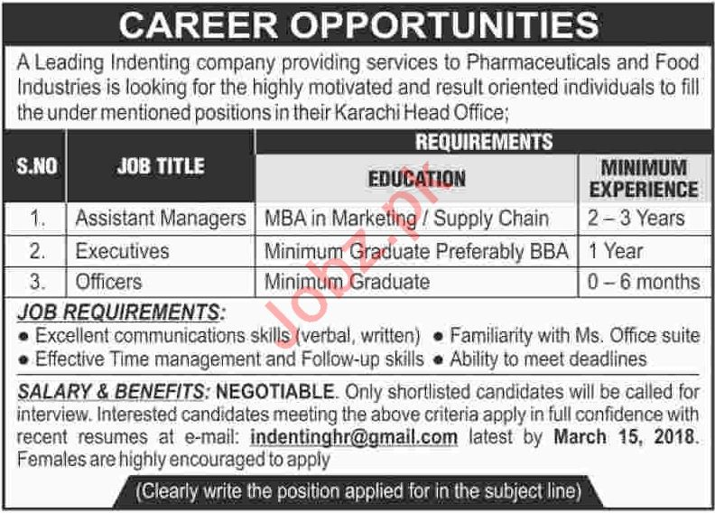 Assistant Manager, Executives & Officer Jobs 2018 in Karachi
