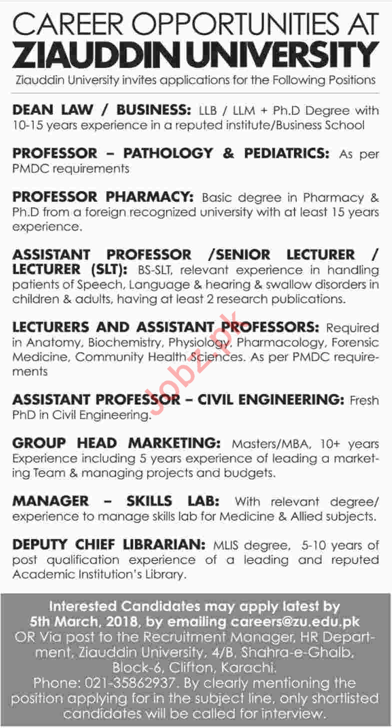 ziauddin university karachi jobs 2018 for professor 2019