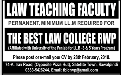 Law Teaching Faculty Job in The Best Law College Rawalpindi